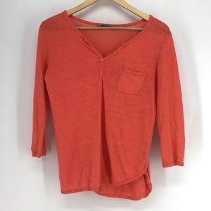 Athleta Coral Orange Newport Henley Tunic Top